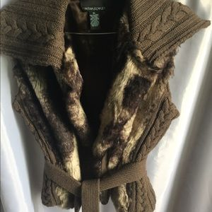 XL Cynthia Rowley faux fur vest